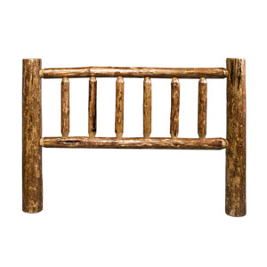 Glacier Country Stained and Lacquered Log Headboard Eastern King