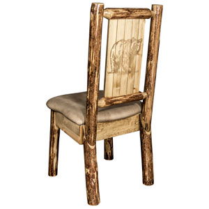 Glacier Country Side Chair - Buckskin Upholstery, with Laser Engraved Bear Design
