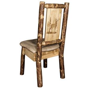 Glacier Country Side Chair - Buckskin Upholstery, with Laser Engraved Elk Design