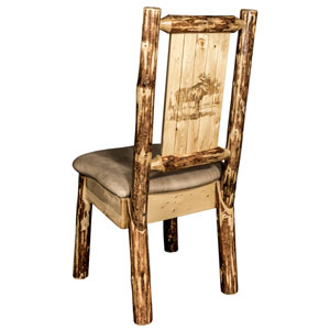 Glacier Country Side Chair - Buckskin Upholstery, with Laser Engraved Moose Design