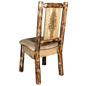 Glacier Country Side Chair - Buckskin Upholstery, with Laser Engraved Pine Tree Design
