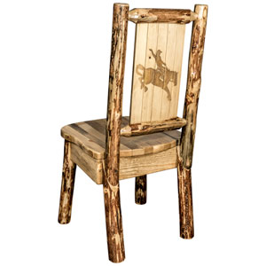 Glacier Country Side Chair with Laser Engraved Bronc Design