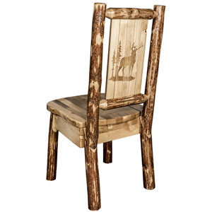 Glacier Country Side Chair with Laser Engraved Elk Design