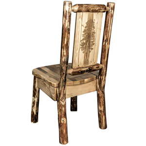 Glacier Country Side Chair with Laser Engraved Pine Tree Design