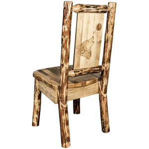 Glacier Country Side Chair with Laser Engraved Wolf Design