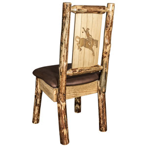 Glacier Country Side Chair - Saddle Upholstery, with Laser Engraved Bronc Design