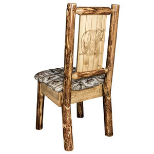 Glacier Country Side Chair - Wildlife Upholstery, with Laser Engraved Bear Design