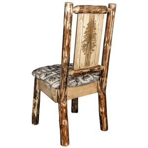 Glacier Country Side Chair - Wildlife Upholstery, with Laser Engraved Pine Tree Design