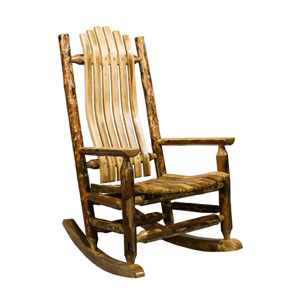Glacier Country Stained and Lacquered Log Rocker Adult