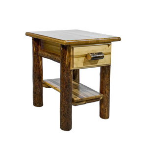 Glacier Country Stained and Lacquered Nightstand w/ Drawer and Shelf