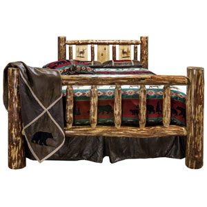 Glacier Country Twin Bed with Laser Engraved Elk Design