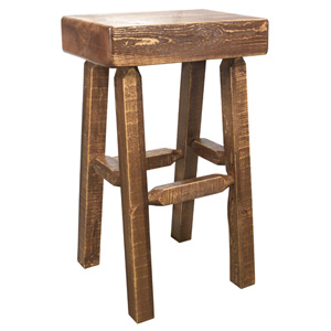 Homestead Stained and Lacquered Half Log Barstool