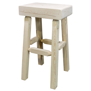 Homestead Lacquered Half Log Barstool