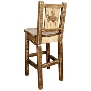 Homestead Counter Height Barstool with Back, with Laser Engraved Bronc Design, Stain and Lacquer Finish