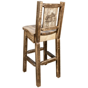 Homestead Barstool with Back with Laser Engraved Moose Design, Stain and Lacquer Finish
