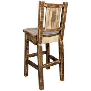 Homestead Barstool with Back, with Laser Engraved Pine Tree Design, Stain and Lacquer Finish