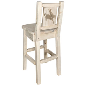 Homestead Barstool with Back, with Laser Engraved Bronc Design, Clear Lacquer Finish