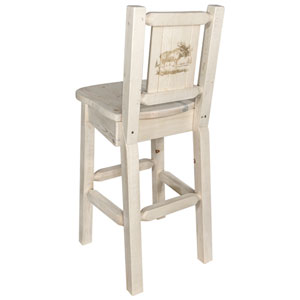 Homestead Barstool with Back with Laser Engraved Moose Design, Clear Lacquer Finish