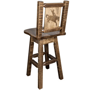 Homestead Counter Height Barstool with Back and Swivel with Laser Engraved Bronc Design, Stain and Lacquer Finish