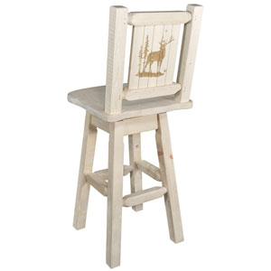 Homestead Counter Height Barstool with Back and Swivel with Laser Engraved Elk Design, Stain and Lacquer Finish