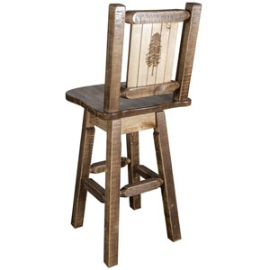 Homestead Counter Height Barstool with Back and Swivel with Laser Engraved Pine Tree Design, Stain and Lacquer Finish