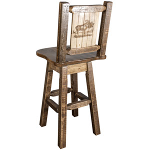 Homestead Barstool with Back and Swivel with Laser Engraved Moose Design, Stain and Lacquer Finish