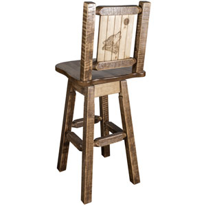 Homestead Barstool with Back and Swivel with Laser Engraved Wolf Design, Stain and Lacquer Finish