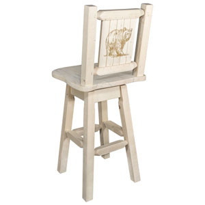 Homestead Counter Height Barstool with Back and Swivel with Laser Engraved Bear Design, Clear Lacquer Finish