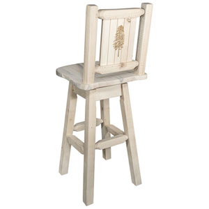 Homestead Counter Height Barstool with Back and Swivel with Laser Engraved Pine Tree Design, Clear Lacquer Finish
