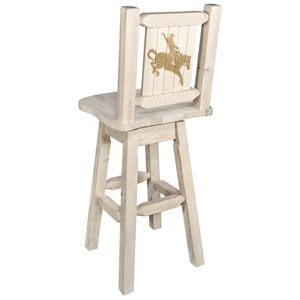 Homestead Barstool with Back and Swivel with Laser Engraved Elk Design, Clear Lacquer Finish