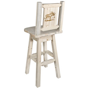 Homestead Barstool with Back and Swivel with Laser Engraved Moose Design, Clear Lacquer Finish