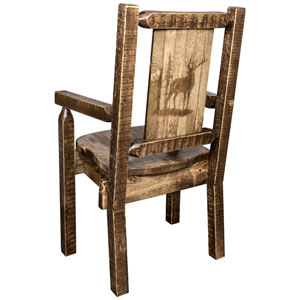 Homestead Captains Chair with Laser Engraved Elk Design, Stain and Lacquer Finish