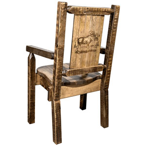 Homestead Captains Chair with Laser Engraved Moose Design, Stain and Lacquer Finish