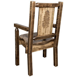 Homestead Captains Chair with Laser Engraved Pine Tree Design, Stain and Lacquer Finish