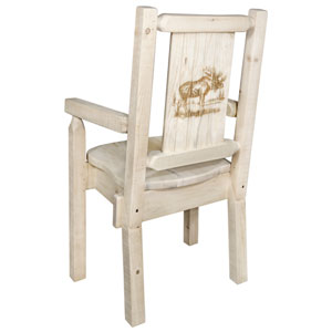 Homestead Captains Chair with Laser Engraved Moose Design, Clear Lacquer Finish