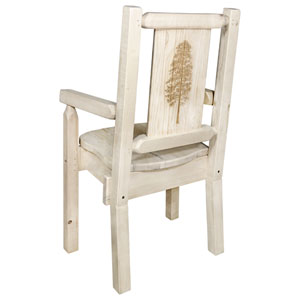 Homestead Captains Chair with Laser Engraved Pine Tree Design, Clear Lacquer Finish