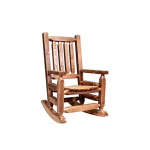 Homestead Stained and Lacquered Log Rocker, Childs