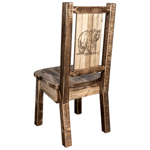 Homestead Side Chair with Laser Engraved Bear Design, Stain and Lacquer Finish
