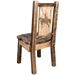 Homestead Side Chair with Laser Engraved Bronc Design, Stain and Lacquer Finish