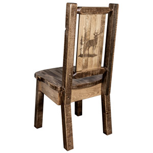 Homestead Side Chair with Laser Engraved Elk Design, Stain and Lacquer Finish