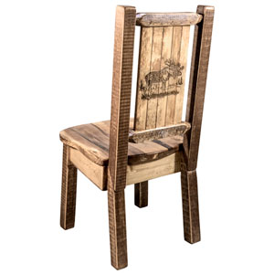 Homestead Side Chair with Laser Engraved Moose Design, Stain and Lacquer Finish