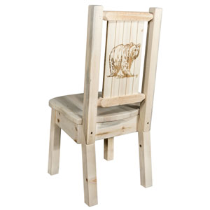 Homestead Side Chair with Laser Engraved Bear Design, Clear Lacquer Finish