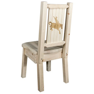 Homestead Side Chair with Laser Engraved Bronc Design, Clear Lacquer Finish