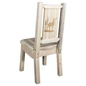 Homestead Side Chair with Laser Engraved Elk Design, Clear Lacquer Finish