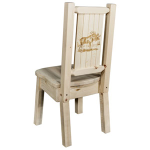 Homestead Side Chair with Laser Engraved Moose Design, Clear Lacquer Finish
