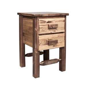 Homestead Stained and Lacquered Nightstand w/ Two Drawers