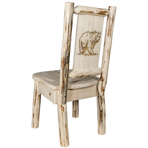 Montana Side Chair with Laser Engraved Bear Design, Clear Lacquer Finish
