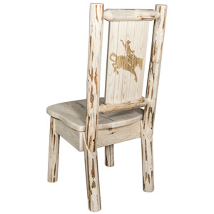 Montana Side Chair with Laser Engraved Bronc Design, Clear Lacquer Finish