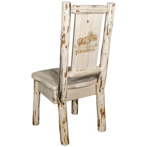 Montana Side Chair with Laser Engraved Moose Design, Clear Lacquer Finish