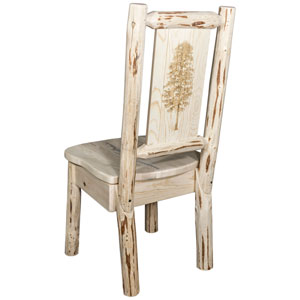Montana Side Chair with Laser Engraved Pine Tree Design, Clear Lacquer Finish